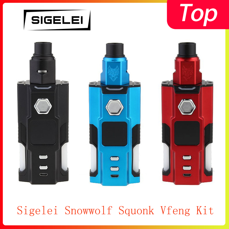 Cleanrence!!Sigelei Snowwolf Squonk Vfeng Kit Powered By 18650/ 20700/21700 With 3.0ml Capacity Squonk Bottle Each Side Vape Kit