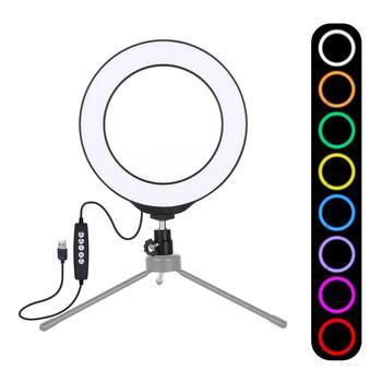 PULUZ 6 2-calowy USB RGBW ściemniania lampa pierścieniowa led Selfie pierścień Lemp lampa studyjna pulpit oświetlenie fotograficzne na Youtube na żywo tanie i dobre opinie 3300-5600 k