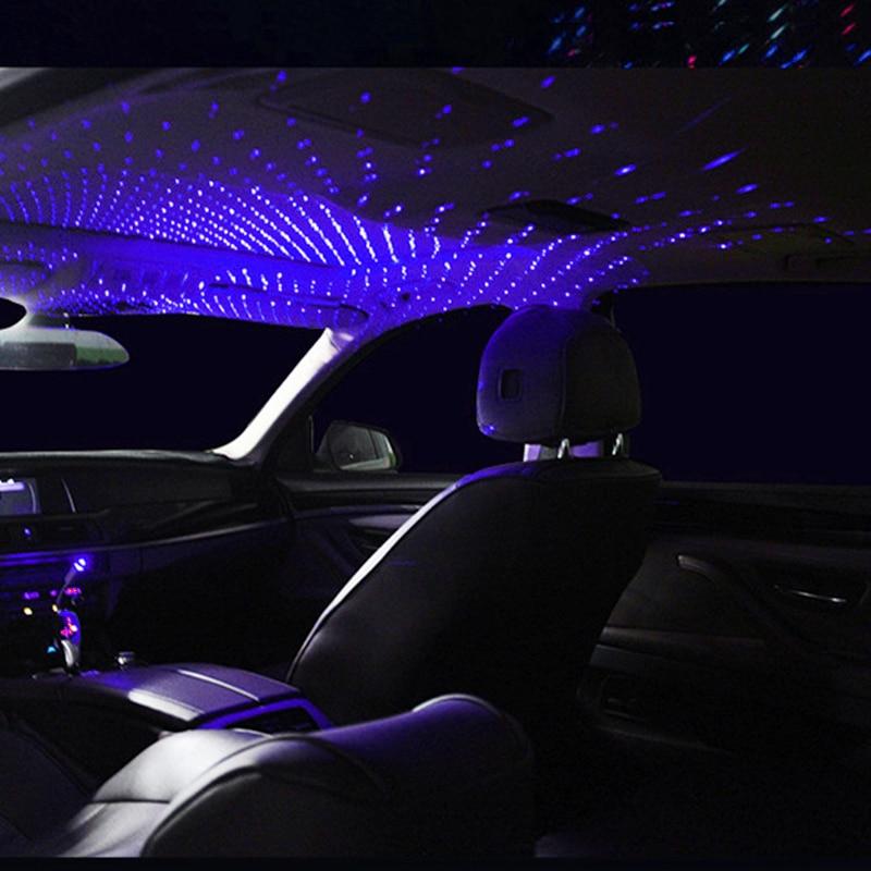 Car USB Atmosphere Ambient Star Light car interior lights LED decorative armrest box car roof full star projection laser car interior atmosphere lights Black