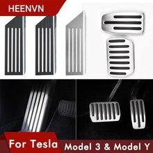 Heenvn 2021 Model3 Auto Fuß Pedal Pads Abdeckungen Für Tesla Modell 3 Y Zubehör Aluminium Legierung Accelerator Bremse Rest Pedal drei