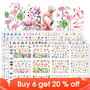 Image 1 - 12 Designs Nail Polish Sticker Water Decal Flamingo Flowers Harajuku Owl Transfer Decoration Manicure Tattoo Tips JIBN913 984 1