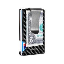NewBring nouveau portefeuille minimaliste en Fiber de carbone RFID bloquant porte carte étui pour cartes de crédit pour hommes femmes mâle femme porte monnaie