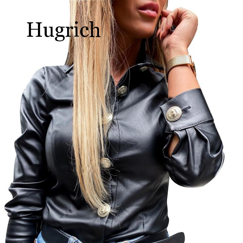 2020 Faux Leather Blouse Women Long Sleeve Shirts Blouses Casual Button PU Leather Blouse Turn Down Collar Ladies Tops Blusas
