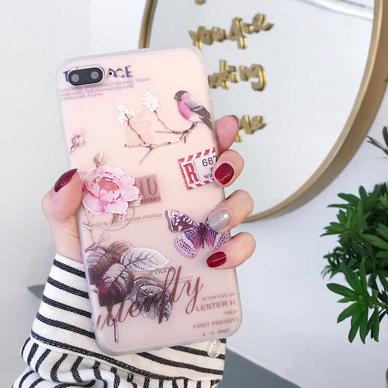Funda Floral 3d para iPhone 6S 6 7 8 plus x xs max xr silicona flor Animal cubierta trasera para iPhone se 5S 5