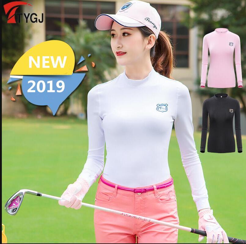 Vestuário de Golfe-golfe T-shirt de Manga Longa para Mulheres de Alta-neck Nova Outono Inverno Protetor Solar Quente Assentamento Camisas Sportswear Fino 2020