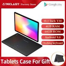 최신 2.5D 정제 Teclast T30 Andriod 9.0 태블릿 PC 10.1 인치 4GB RAM 64GB ROM 4G 전화 8000mAh 듀얼 카메라 GPS Type C