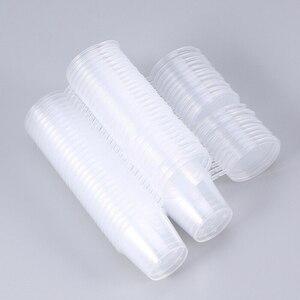 30-100 мл прозрачные пластиковые одноразовые чашки с присоединенными крышками, чашки для суфле, чашки для приправ, 50/100 шт.