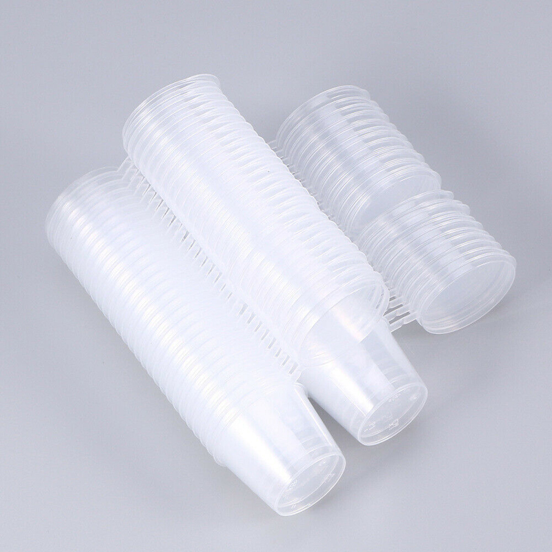 30-100ml Clear Plastic Disposable Portion Cups With Attached Lids, Souffle Cups, Condiment Cups 50/100pcs
