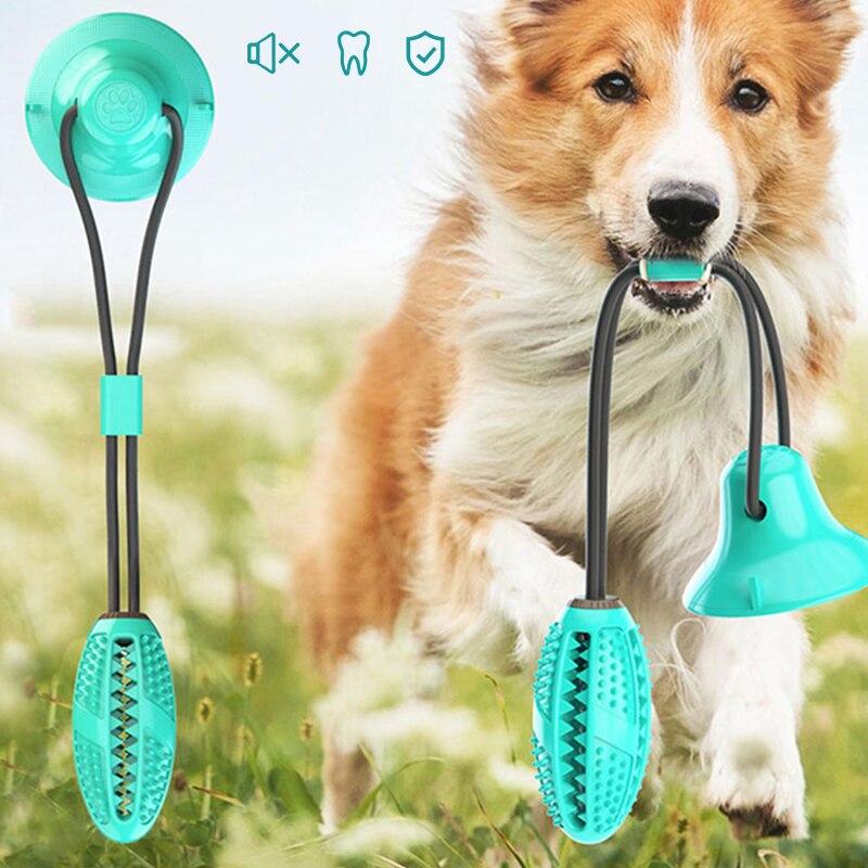 Собака игрушки силиконовые чашки всасывания буксир игрушка для домашних животных собак пуш-ап шарик-игрушка для питомцев для чистки зубов собаки Зубная щётка для щенков и небольших собак игрушка для кусания-0