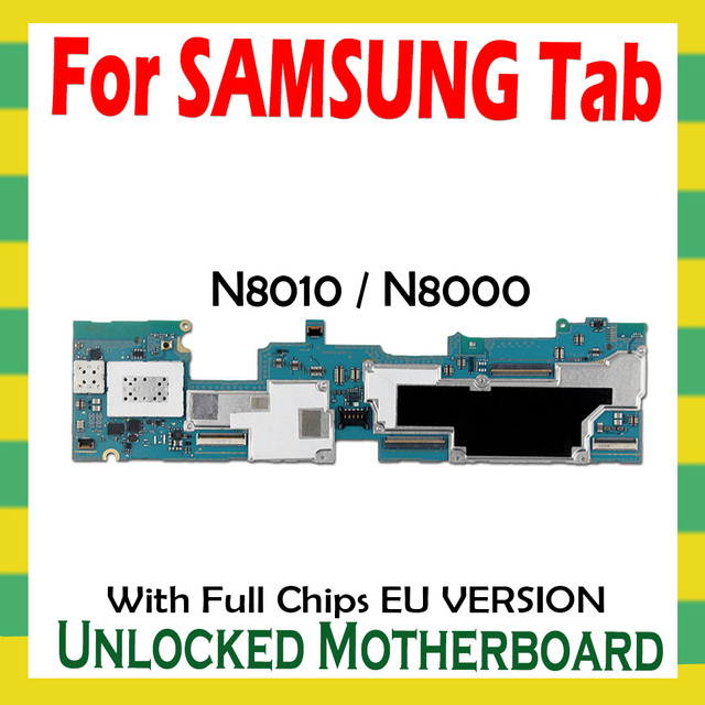 Unlocked Motherboard For Samsung Galaxy Tab Note 10.1 N8010 N8000 Tablet WLAN Cellular logic board full chips mainboard Android