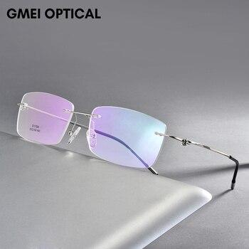 цена на Alloy Screwless Rimless Glasses Frame Men Ultralight Square Eyeglasses Myopia Prescription Eye Glass Frameless Man Optical Frame
