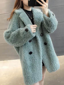 Imitation lamb fur coat female winter long section small fragrance coat female