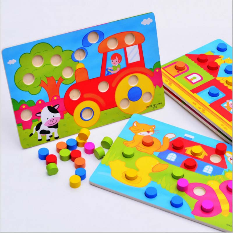 Color Cognition Board Montessori Educational Toys For Children Wooden Toy Jigsaw Early Learning Color Match Game