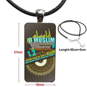 Image 5 - Ikhlas muçulmano islâmico surah aço cor cabochão de vidro com retângulo em forma de pingente gargantilha colar para crianças femininas