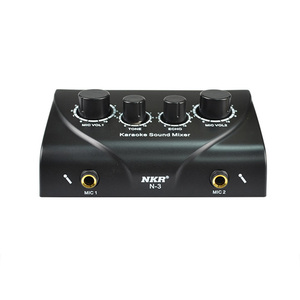 Image 2 - Ofertas superiores portátil duplo microfone entradas de áudio misturador de som para amplificador & microfone karaoke ok mixer preto eua plug
