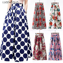 Lugentolo Skirts Womens Retro Print Casual Fashion Ball Gown Ankle-Length Big Swing Maxi Plus Size Womens(China)