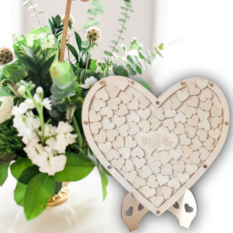 wood hearts DIY Wedding Guest Book Alternative Frame Drop Box Guestbooks  With 75PCS Wooden Hearts Ornaments