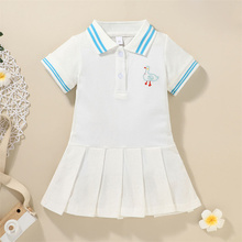 Girls Short Sleeve Lapel Neck Pleated Dress with Buttons,Children Duck Embroidery A-line Dress