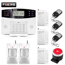 FUERS DP500 Home Security Alarm system Metal Remote Control Voice Wireless Door sensor LCD Display Siren Kit SIM SMS GSM Alarm 433 mhz lcd display wifi gsm security alarm system smart home automation gprs sms alarm kit touch keyboard infrared detector