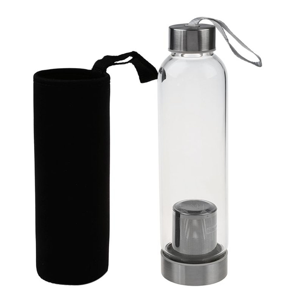 1 Set Water Bottle And Protective Bag Travel Office Home Glass Sport Water Bottle With Tea Filter Infuser Protective Bag 550ml