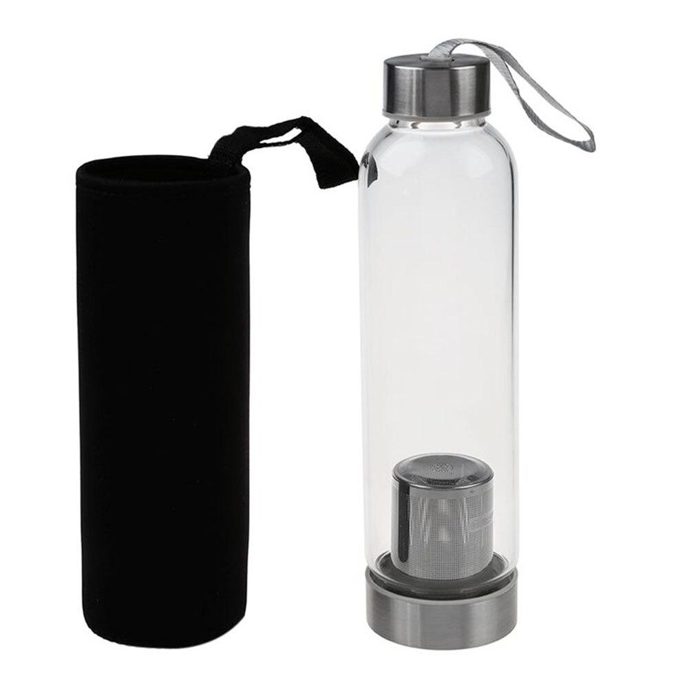 1 conjunto de garrafa de água e saco de proteção viagens escritório casa vidro esporte garrafa de água com filtro de chá infusor saco de proteção 550ml