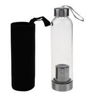 1 conjunto de garrafa de água e saco de proteção viagens escritório casa vidro esporte garrafa de água com filtro de chá infusor saco de proteção 550ml|null| |  -