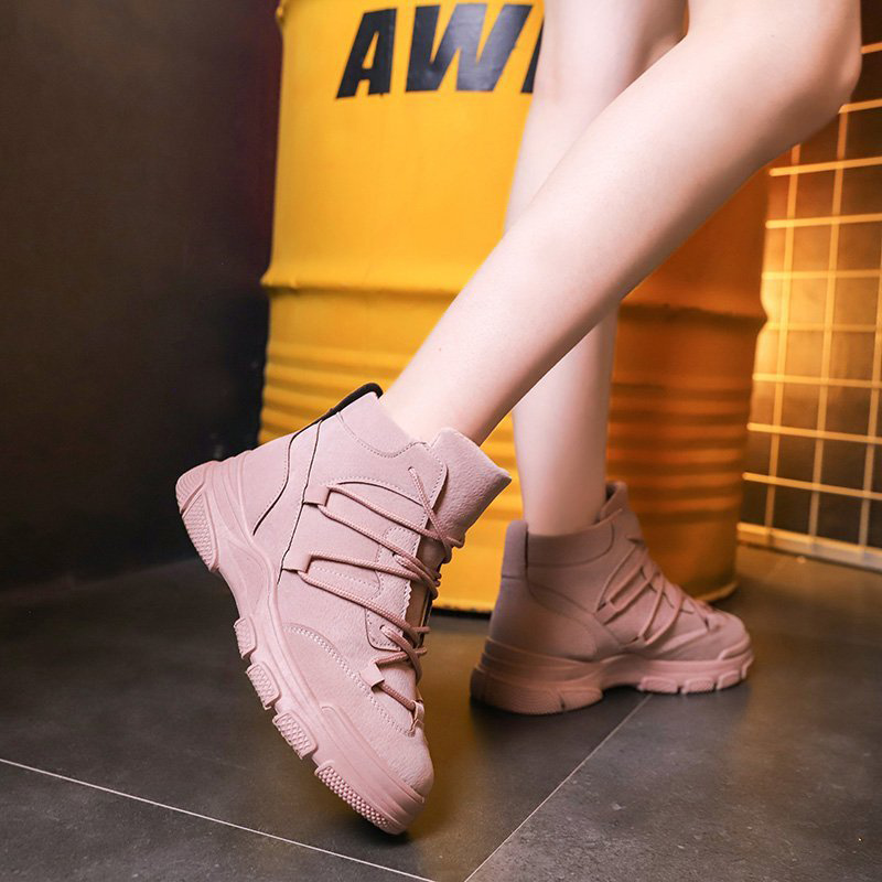 Women Lace Up Boots Ladies Flat Platform Woman Waterproof Non Slip Ladies Causal Comfortable Boot Female Shoes Outdoor 2020
