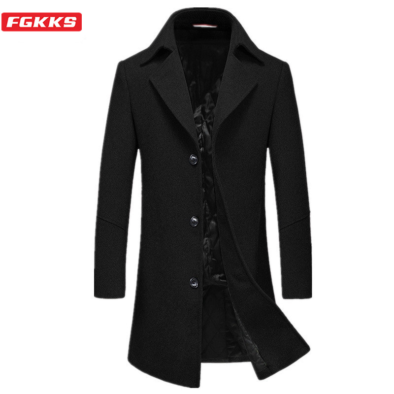 FGKKS Winter Wool Blend Coats Men Fashion Brand Men's Simple Slim Trench Coat Solid Color Long Section Wool Overcoat Male
