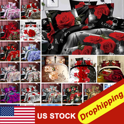 2020 nowe luksusowe łóżko ding zestaw Flower3/4PCS nadruk z różą luksusowe łóżko pościel na kołdrę poszewka pościel dekoracja pokoju