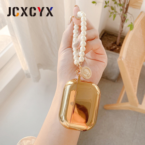 Image 4 - Gold plating pearl coin bracelet keychain chain Wireless Headset bluetooth soft case for Apple AirPods 1 2 cover for airpods pro