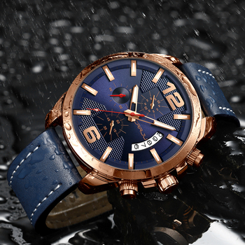 Top Luxury Brand CRRJU New Chronograph Men Watch Hot Sale Fashion Military Sport Waterproof Leather Wristwatch Relogio Masculino 4