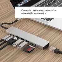USB C Hub adaptateur USB C Hub Hub Hub pour RJ45 Ethernet HDMI Hub données/PD charge 3 USB 3.0 SD/TF lecteur de carte/3.5mm Audio