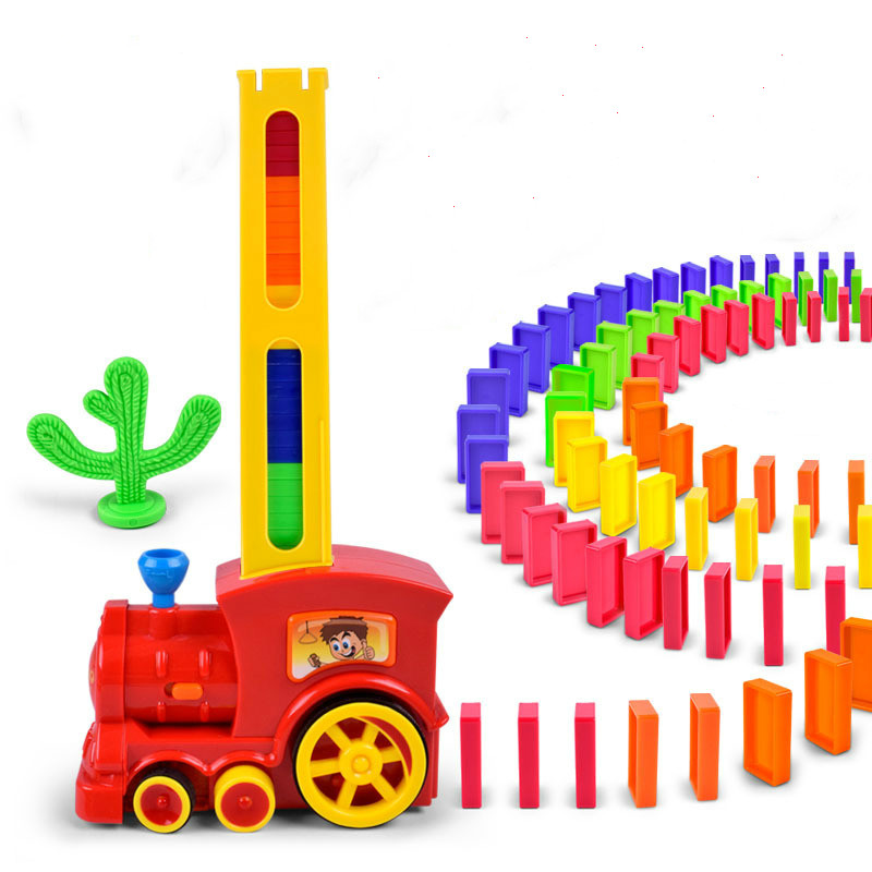 Automatic Laying Domino Train Put Up The Dominoes Toys with Light Sound Educational Building Blocks DIY Plastic Dominos Toy Set