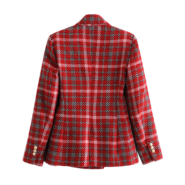 Fashion Double Breasted Plaid Blazers and Jackets Work Office Lady Autumn Women Suit Slim Business Female Blazer Coat Talever 2