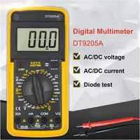 Dt9205a handheld multímetro digital 1999 contagens ac/dc tensão atual resistência medidor teste capacitância diodo tester
