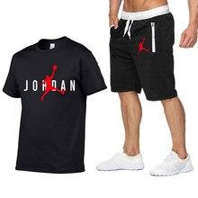 2021 popular new cotton men's T-shirt + Sports Shorts Set jordan-23 summer high quality cotton T-shirt sports running set