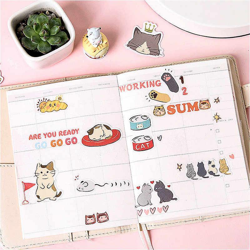 1 חבילה Kawaii חתול יומן מחברת פנקס מדבקת Creative ברק להחלפה מדבקת מכתבים מתנה נוסע יומן