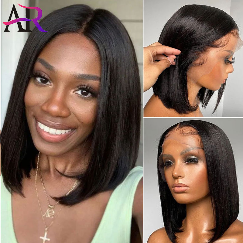 Straight Bob Wig Lace Human Hair Wig 13x4 Lace Front Wig with Baby Hair 180 Brazilian Remy Hair Short Bob Closure Wigs For Women