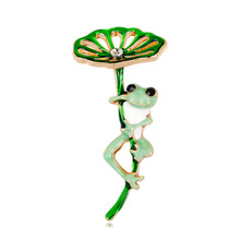 New Personality Cartoon Brooch Fashion Wild Lotus Leaf Frog Upscale Ladies Pin