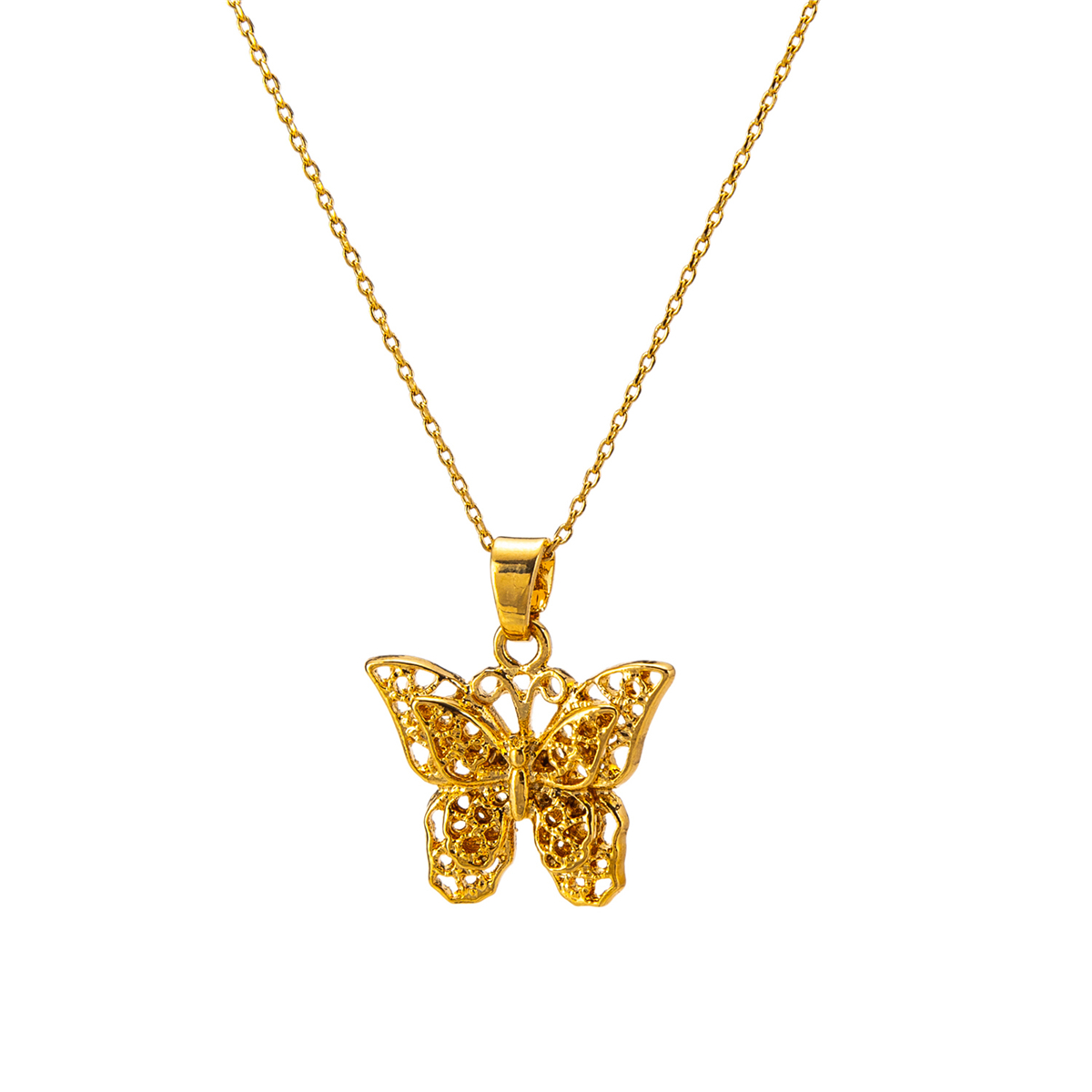 Gold Color Hollow Butterfly Pendant Necklace for Women Men Link Chain Wedding Birthday Hip-hop Punk Jewelry