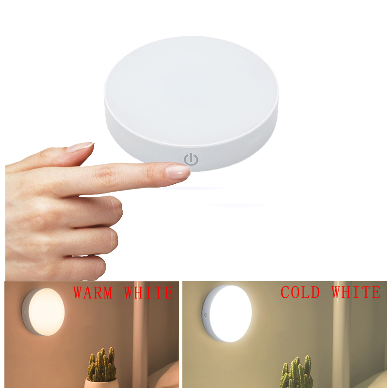 Warm White/Cold White Touch Night Lights, Rechargeable LED Cabinet Light, Stick On Anywhere Closet Light For Bathroom, Bedroom A