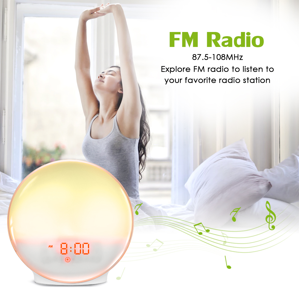 New Wake-Up Light Alarm Clock Radio Alarm Clock with 7 Colored Sunrise Simulation and Sunset Fading Night Light & Snooze Feature