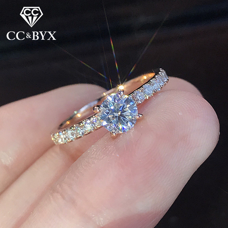 CC Bridal Wedding Rings For Women Cubic Zirconia Round Stone Simple Jewelry Engagement Ring Bijoux Femme Drop Shipping CC2330 1