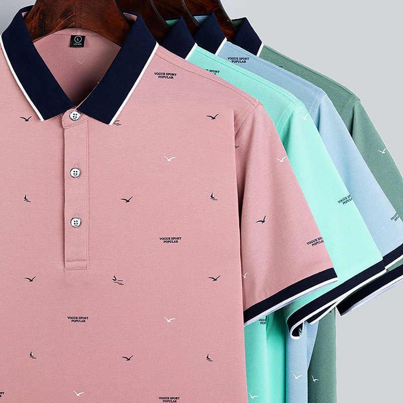 Alta qualidade topos & t camisas polo masculinas marcas de negócios camisas polo 3d bordado turn-down collar dos homens camisa polo 9099