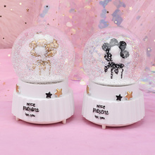 Creative Balloon Snow Globe Crystal Ball Rotating Music Box Christmas Decoration For Home Home Decoration Accssories new christmas decorations creative snow music lantern festival scene decoration props glowing glass ball with snow toy speelgoed