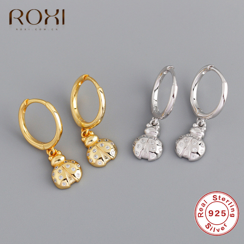ROXI Individuality Gold&Sliver Insect Stud Earrings 925 Sterling Silver Mini CZ Firefly Pendant Small Stud Earrings For Women