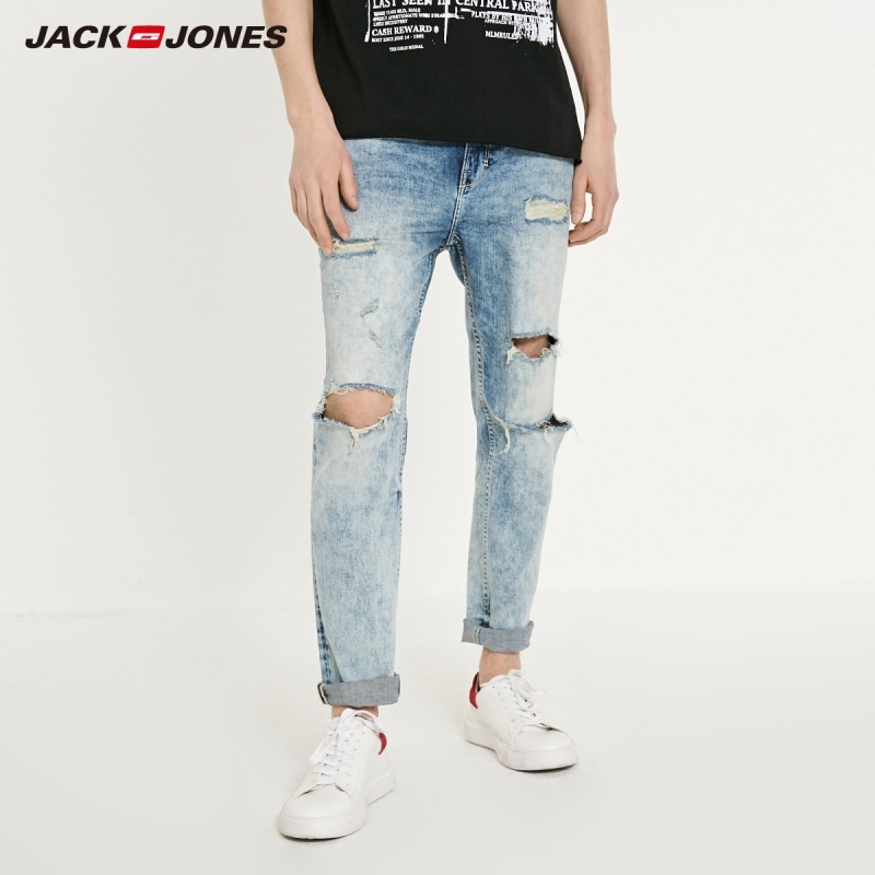 JackJones Men's Fashion Ripped Washed Style Jeans| 219132509