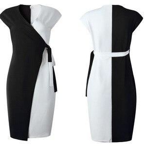 Image 2 - VITIANA النساء أنيقة الخامس الرقبة خياطة اللون فستان صيفي 2020 الإناث ضئيلة مكتب سيدة OL فساتين متوسطة الطول فام عادية Vestidos