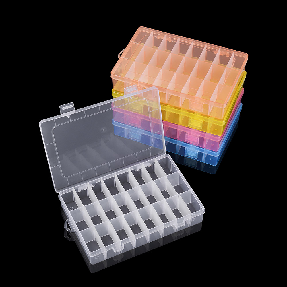 24 Grids Adjustable  Plastic 3 Row Transparent Storage Box Case Jewelry Display Beads Earring Organizer Container