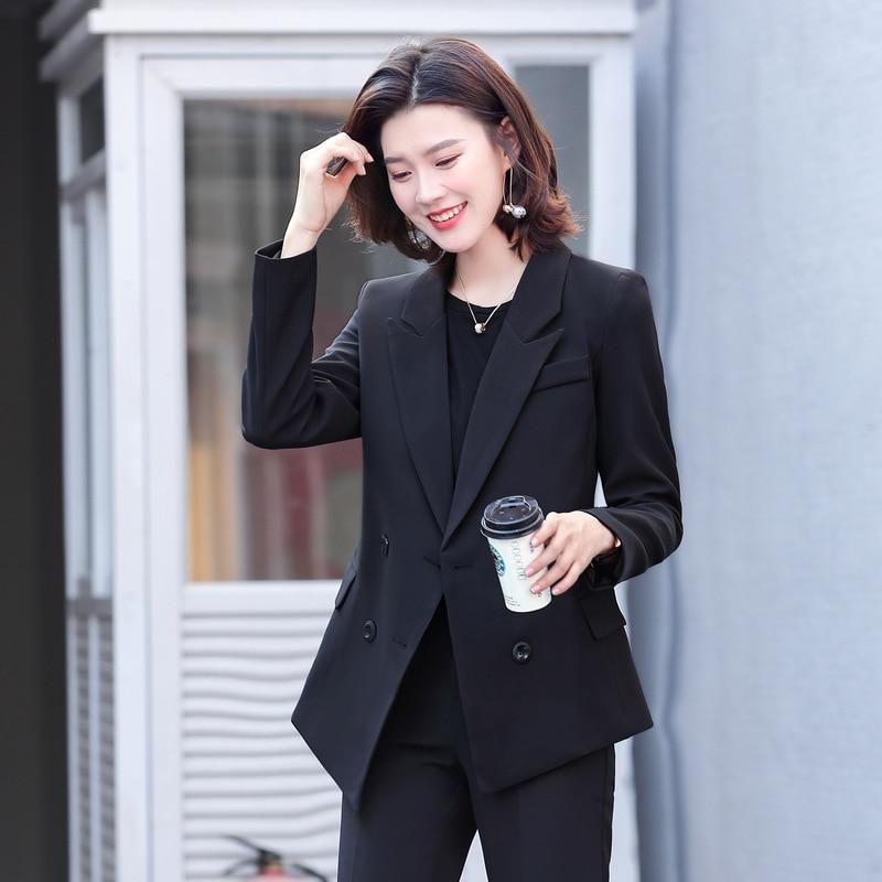 Hot New Female Office Work Formal Long Pant Suits Women's Suit Business Lady Uniform 2 Piece Set Blazer Trouser Jacket Plus Size